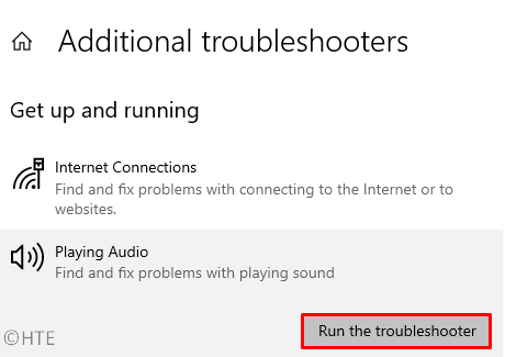 Playing Audio Troubleshooter