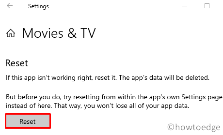 Video or Audio Error 0x887c0032 - Reset Apps