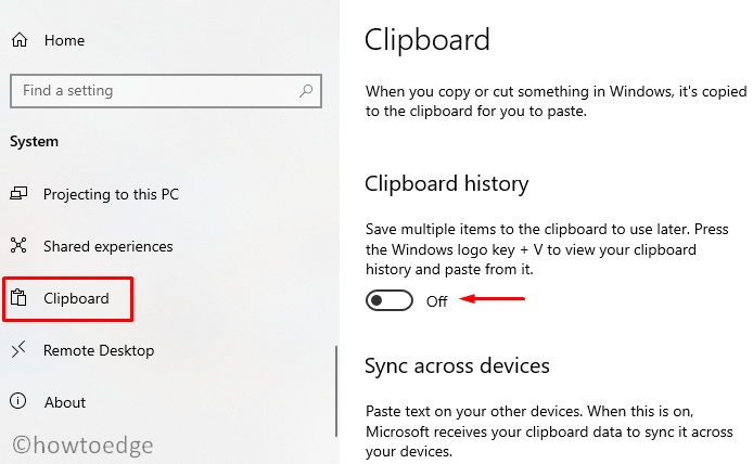 Clear Clipboard History Data on Windows 10