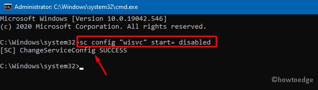 Disable Windows Insider Service - Cmd