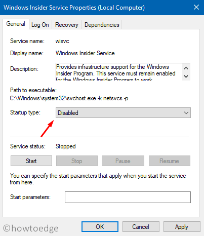Disable Windows Insider Service - Properties