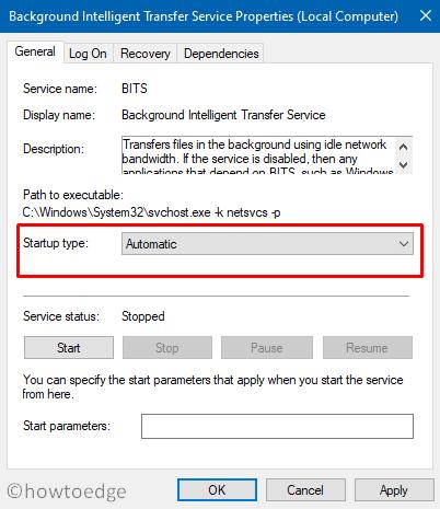 Fix Update Error 0x8024a21e - Start BITS