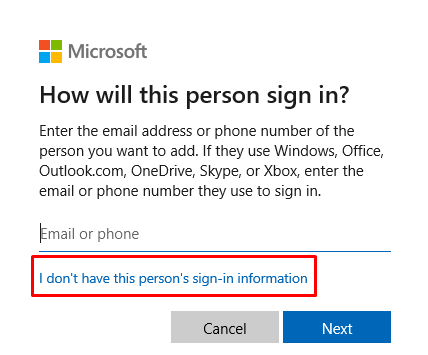 I don't have this person's sign-in information