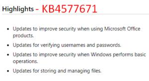 KB4577671 – Windows 10 1903 & 1909 Security update