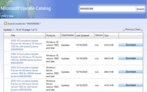 KB4580386 – Windows 10 1903 & 1909 Non-Security Update
