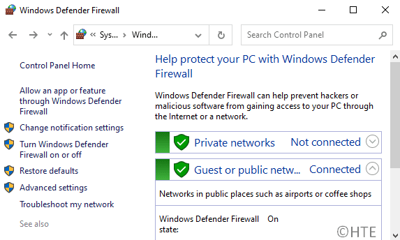 Reset Windows Firewall Settings to Default in Windows 10