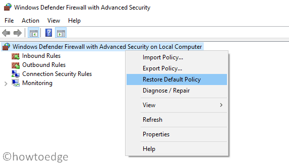 Restore Windows Firewall Settings