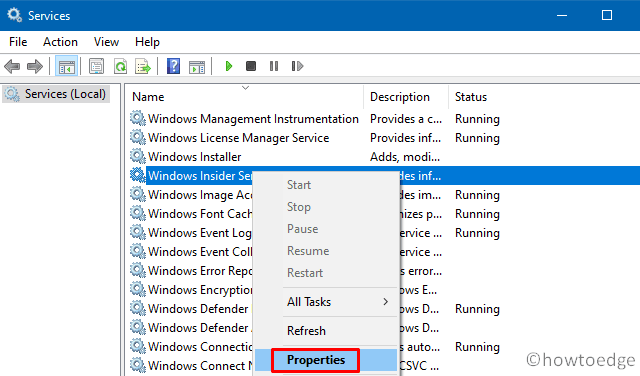 Services Window - Disable Windows Insider Service