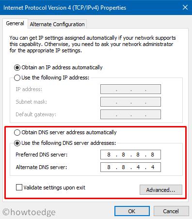 Use Google Public DNS server