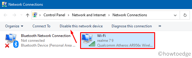 WiFi connected but No Internet - Disable the network device