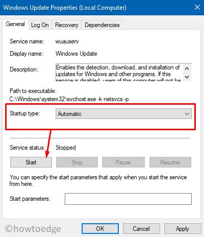 Error 0x80070057 in Windows 10 - Start Windows Update service