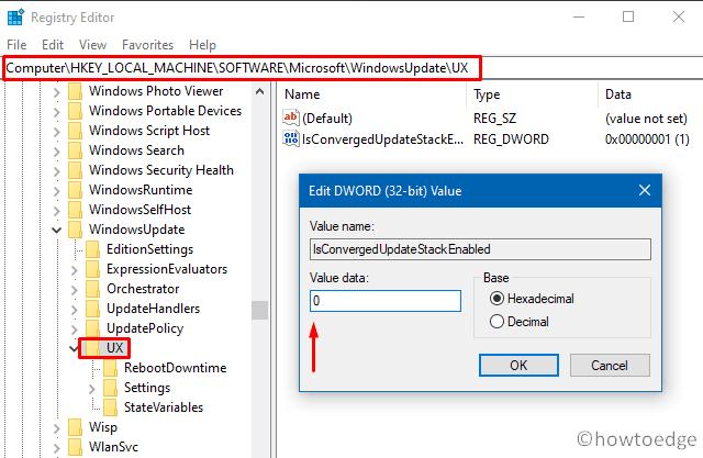Error 0x80070057 in Windows 10 - edit the registry