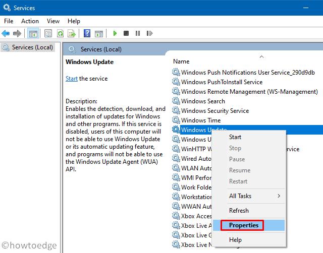 Error 0x80070057 in Windows 10 - update service Properties