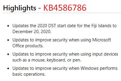 KB4586786 – Windows 10 1903 & 1909 Security Update.