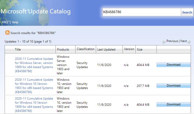 KB4586786 – Windows 10 1903 & 1909 Security Update