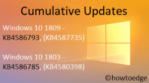 KB4586793 and KB4586785