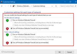 Windows Defender Firewall - Turn off