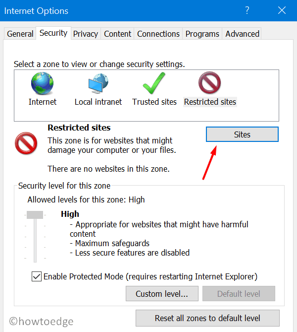 Open Blocked Sites on Windows 10 PC - modify internet options