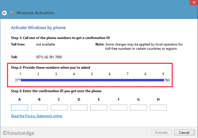Windows activation over phone