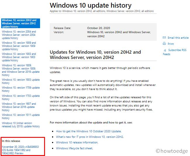 install Windows 10 Updates - Windows 10 Update History
