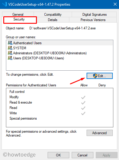 0x80070005 - Security Settings