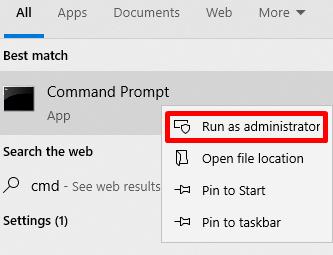 Command Prompt on Start Menu
