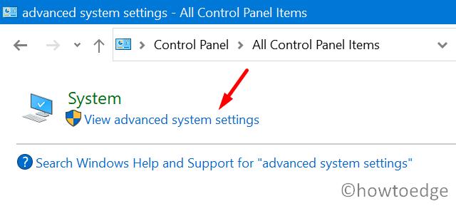 Fix Error 0x000000BD - view advanced system settings