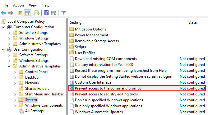 How do I disable Command Prompt on Windows 10