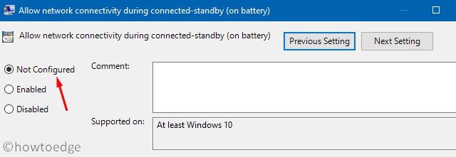 Not configured - enable grayed out options on Settings page