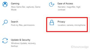 Webcam not working Error 0xA00F4289 - privacy