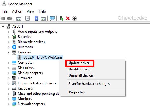 Webcam not working Error 0xA00F4289 - update device
