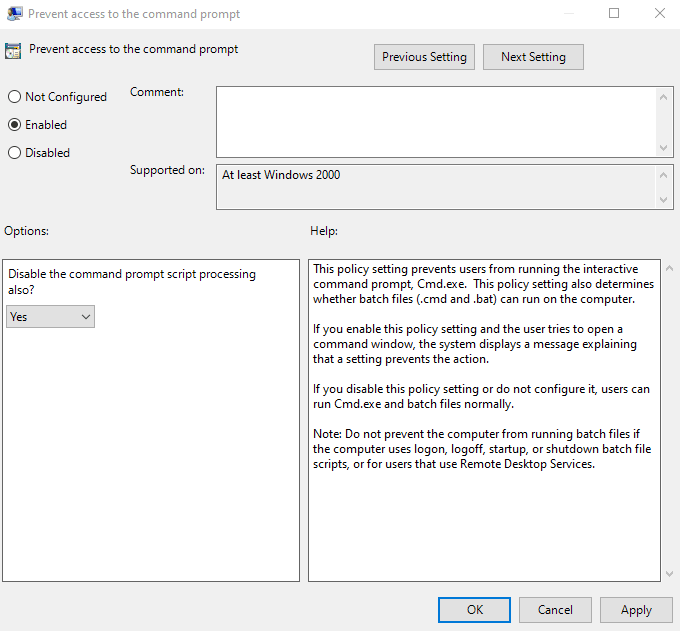disable Command Prompt on Windows 10