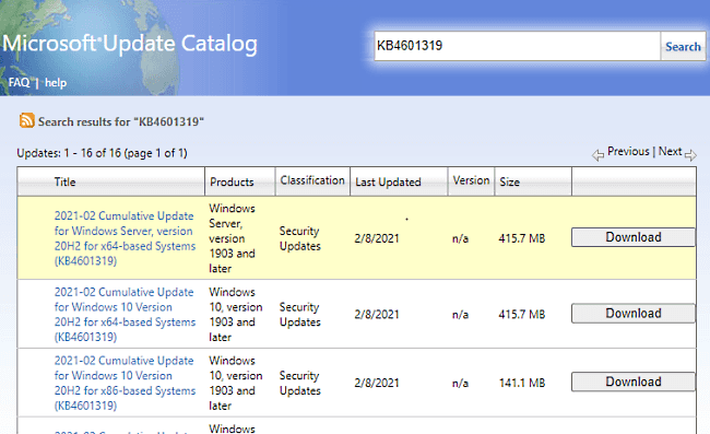 KB4601319 - Security Updates for Windows 10 20H2 and 2004