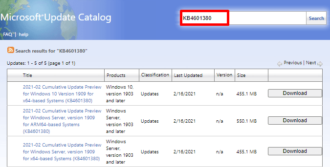 KB4601380 optional update version 1909