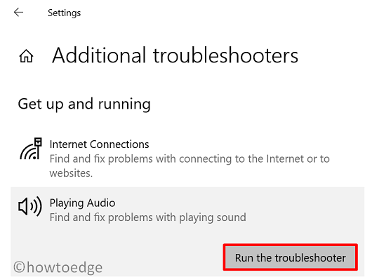 Playing Audio Troubleshooter - 2021