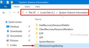 System Image fails on Error 0x80780172 - delete WindowsImageBackup folder