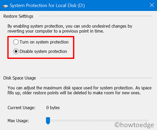 System Image fails on Error 0x80780172 - disable system protection