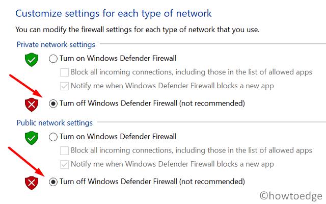 Windows 10 Update Error 0x80072efe - Disable Firewall