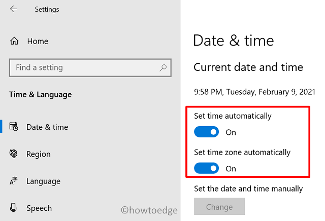 Windows 10 Update Error 0x80072efe - Set Date & Time