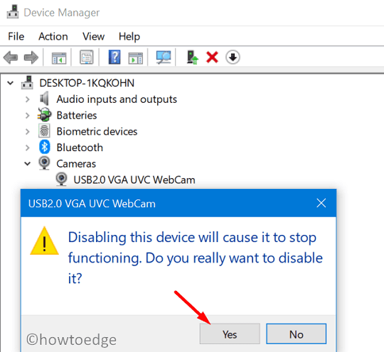 change the default Webcam in Windows 10 - disable in-built camera on the device manager
