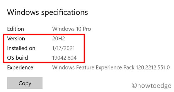 check running Windows 10 Build version - Windows Specifications
