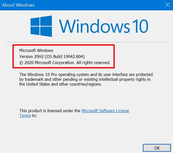 check running Windows 10 Build version