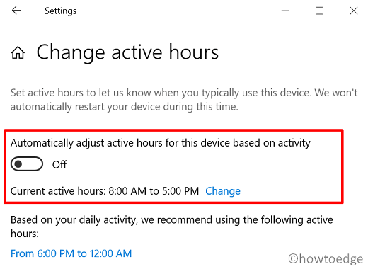 set up a brand new Windows 10 PC - Change Active hours