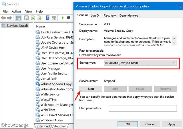 Backup Error 0x807800A1 - Services