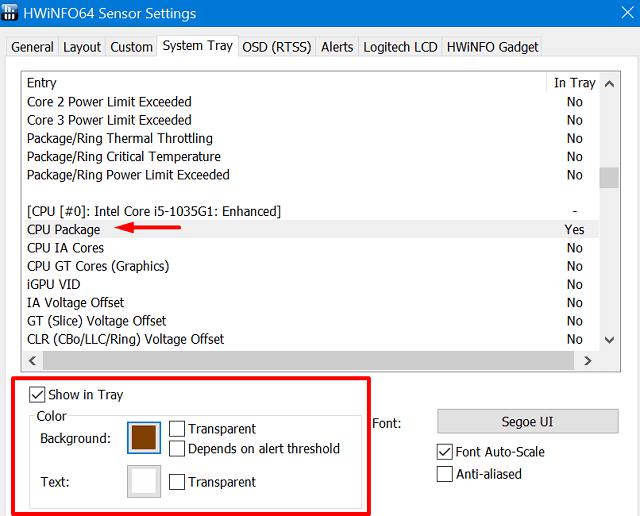 CPU and GPU temperatures - change default colors