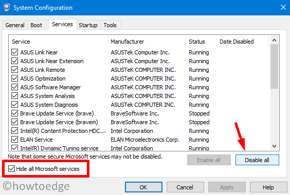 Clean Boot - Hide all Microsoft Services