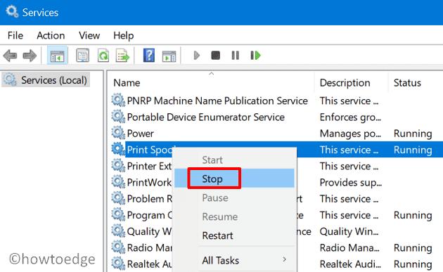Clear Printer Queue in Windows 10 - Stop Print Spooler service