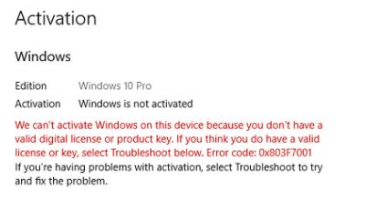 Fix Windows 10 Activation Error failed Error 0x803F7001