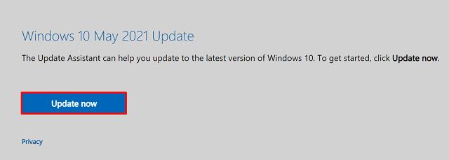 Install May 2021 Update via Windows Update - Update Assistant