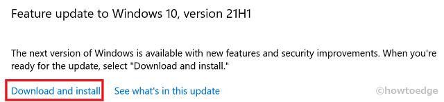 Install May 2021 Update via Windows Update